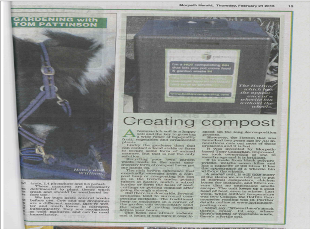 HOTBIN in the Morpeth Herald Feb 2013
